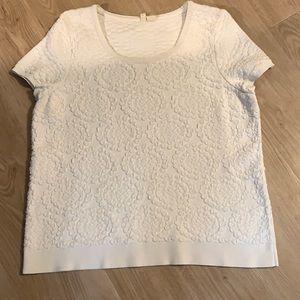 Anthropologie (Moth) White Crop Sleeve Sweater